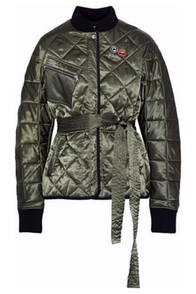 Markus Lupfer Woman Liberty Belted Embellished Quilted Satin Jacket Army Green Size L