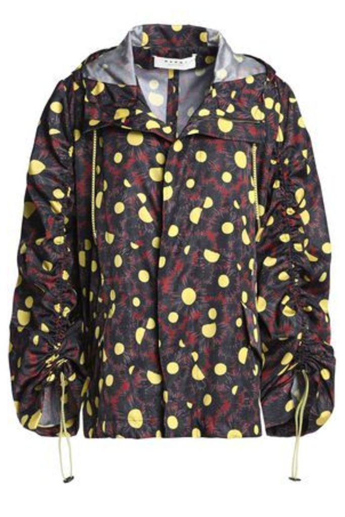 Marni Woman Printed Shell Hooded Jacket Charcoal Size 42