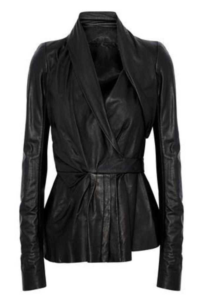 Rick Owens Woman Pleated Leather Wrap Jacket Black Size 38
