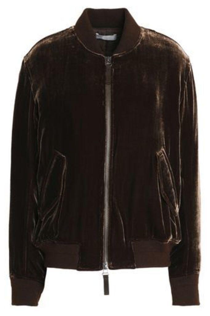 Vince. Woman Velvet Bomber Jacket Chocolate Size S