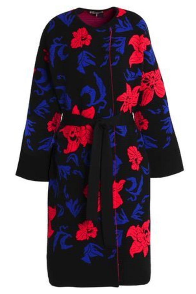 Emilio Pucci Woman Belted Jacquard-knit Jacket Black Size S