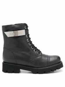 Baldinini logo plaque combat boots - Black