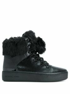 Michael Michael Kors fur-trimmed hi-top sneakers - Black