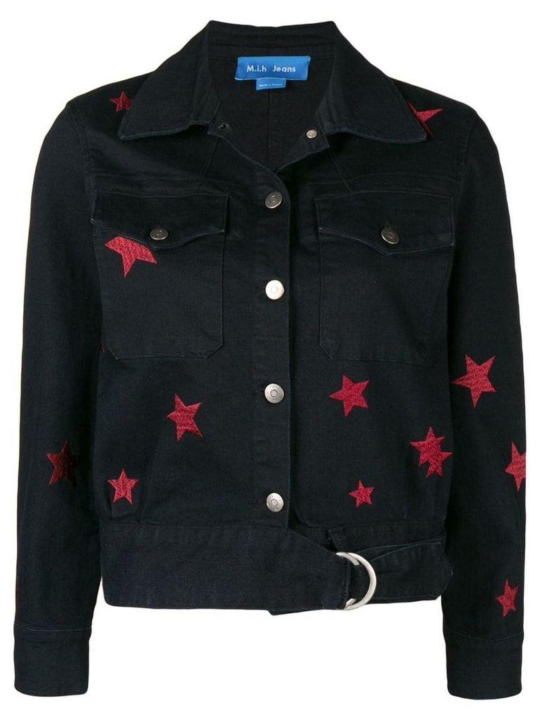 Mih Jeans star embroidered denim jacket - Black