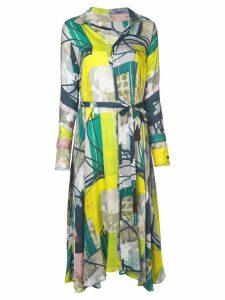 Divka abstract print shirt dress - Green
