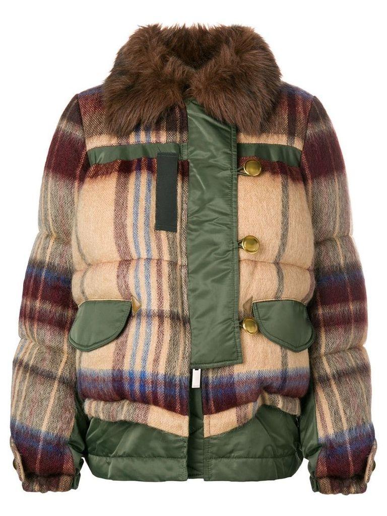 Sacai checked padded jacket - Green