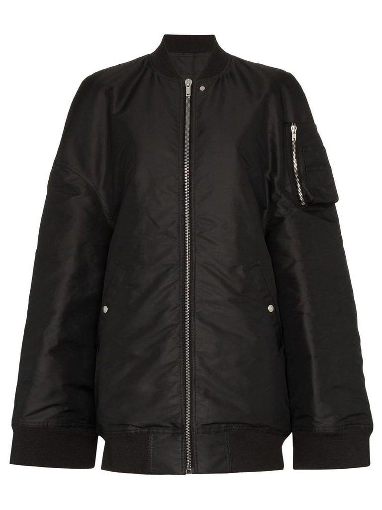Rick Owens Oversized and slit sleeve bomber jacket - Black