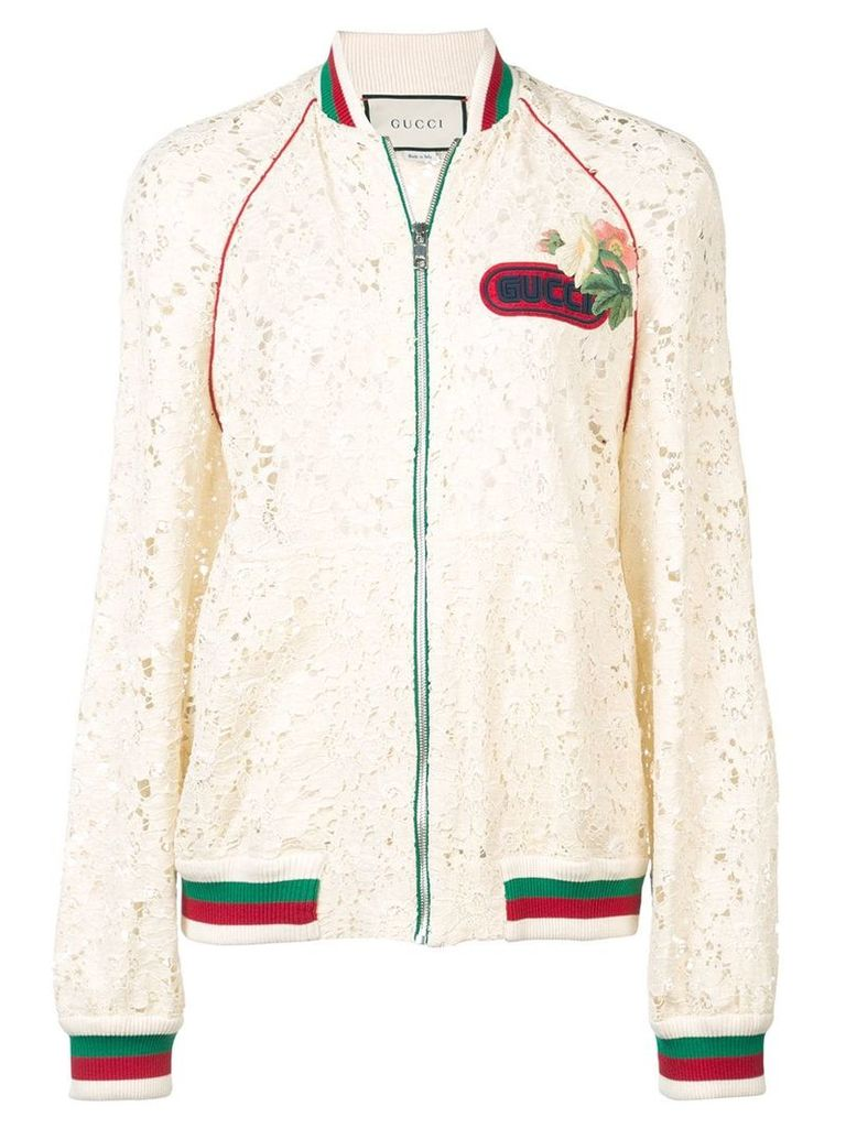 Gucci Flower lace bomber jacket - Nude & Neutrals