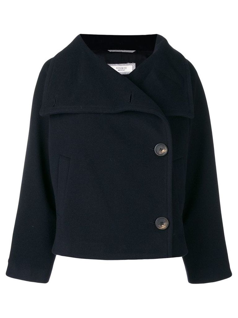 Peserico cropped double-breasted jacket - Blue