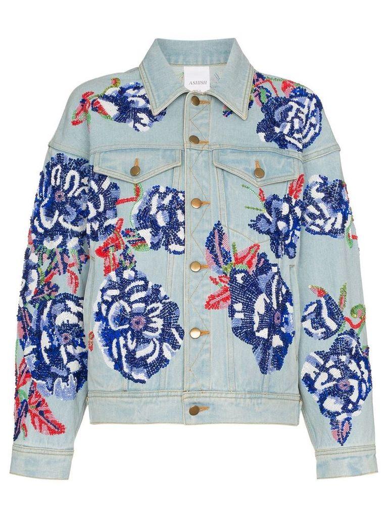 Ashish Flower embroidered cotton denim jacket - Blue