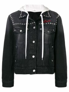 Miu Miu denim flower stud jacket - Black