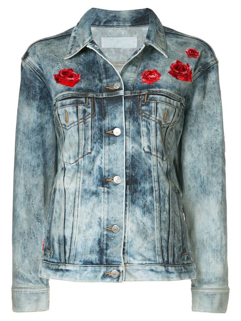 Roarguns embroidered denim jacket - Blue