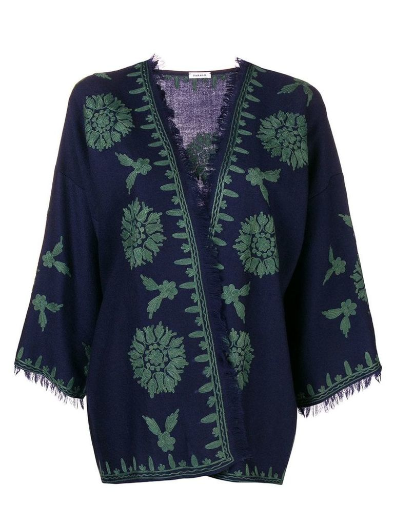 P.A.R.O.S.H. embroidered kimono jacket - Blue