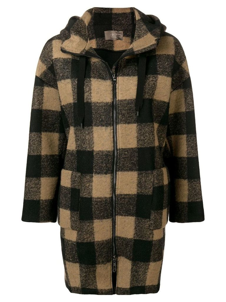 Altea zip-up plaid hooded jacket - Black