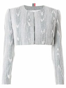 Thom Browne Pearl Fringe Moire Embroidery Cardigan Jacket - Grey