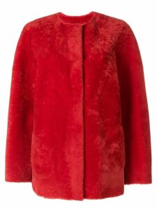 P.A.R.O.S.H. collarless shearling jacket - Red