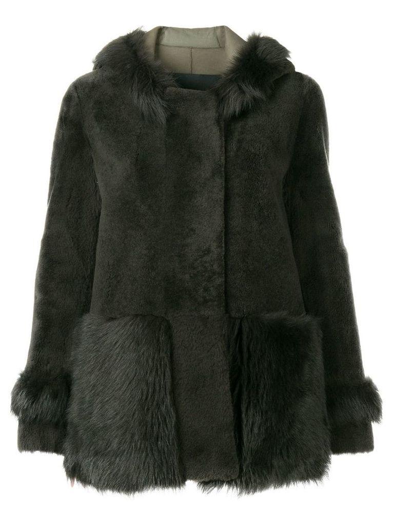 Blancha hooded oversized jacket - Grey