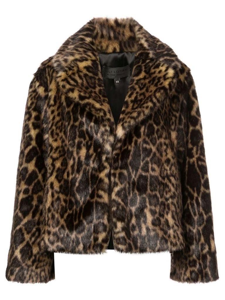 Nili Lotan leopard print fur jacket - Brown