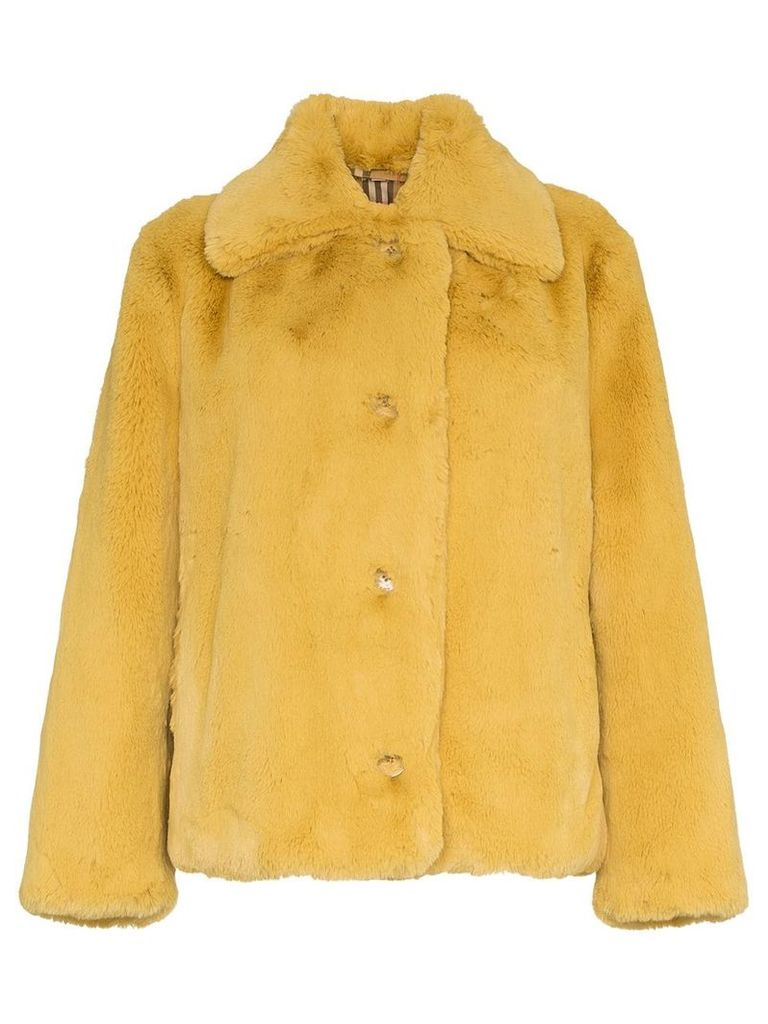 Burberry faux fur single-breasted jacket - Yellow & Orange