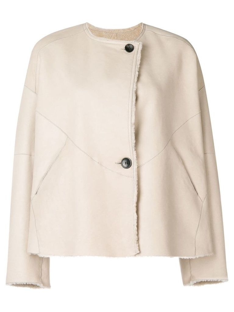 Isabel Marant reversible leather fur jacket - Nude & Neutrals
