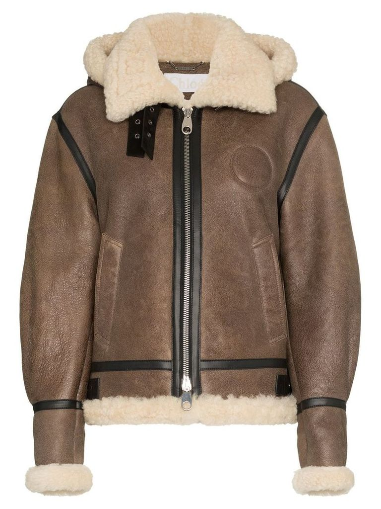 Chloé hooded shearling and leather aviator jacket - Brown