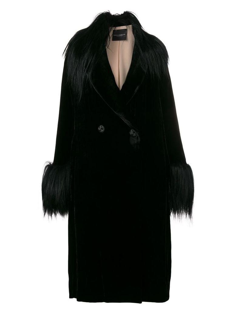 Erika Cavallini velvet double-breasted jacket - Black