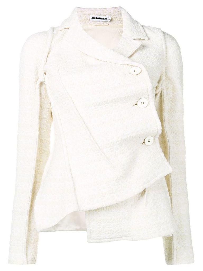 Jil Sander off-centre shearling jacket - White