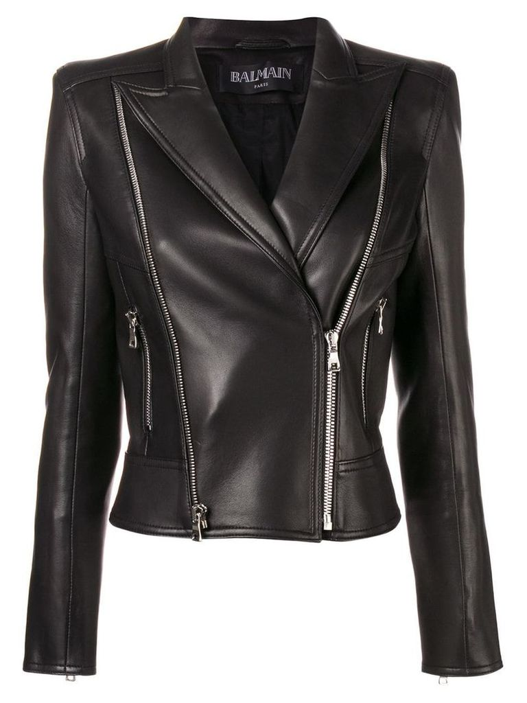 Balmain classic fitted biker jacket - Black