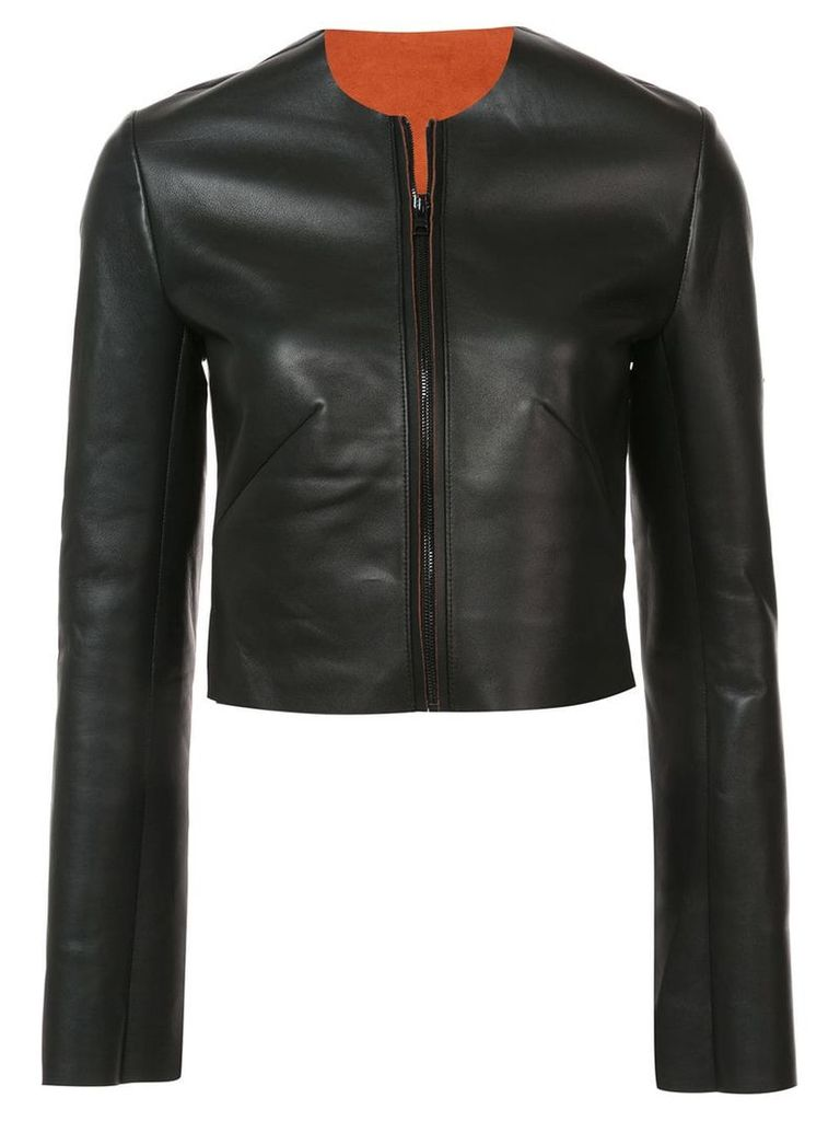 Dvf Diane Von Furstenberg collarless leather jacket - Black