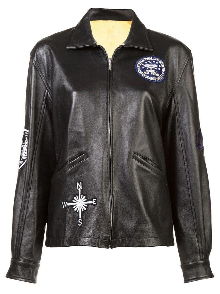 Nicole Miller embellished boyfriend leather jacket - Black