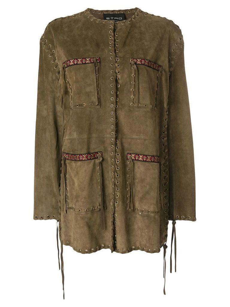 Etro woven safari jacket - Brown