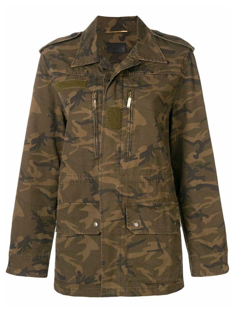 Saint Laurent camouflage print military jacket - Green