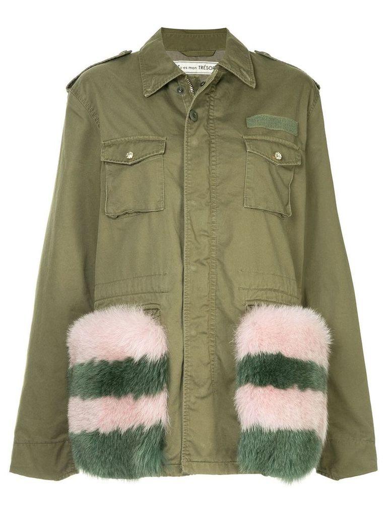 Tu Es Mon Trésor fox fur trim field jacket - Green