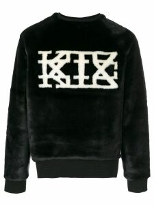KTZ logo faux-fur sweatshirt - Black