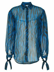 Robert Rodriguez Studio sheer animal print blouse - Blue