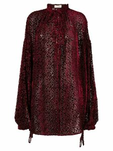 Saint Laurent long-sleeve patterned blouse - Red