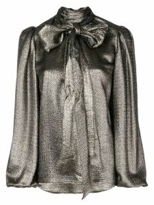 Saint Laurent metalized bow blouse - Metallic