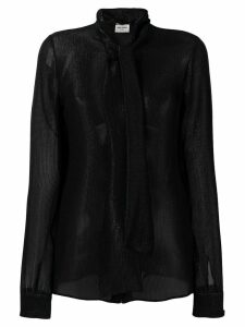 Saint Laurent sheer pussy bow blouse - Black