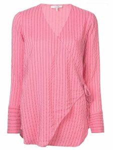 GANNI wrap front blouse - PINK