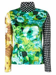 Richard Quinn colour-block turtle neck top - Green