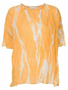 Christopher Esber ruched shortsleeved blouse - Yellow