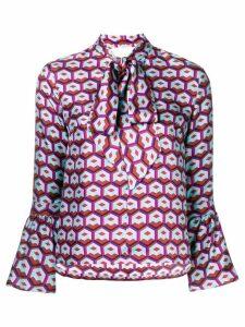 La Doublej geometric print pussy bow blouse - PINK