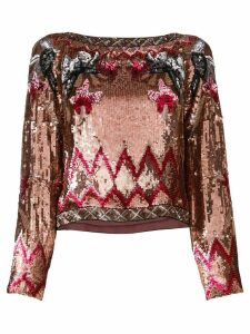Alberta Ferretti sequin patterned blouse - PINK