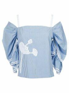Martha Medeiros Sula lace detail blouse - Azul/Branco