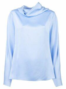 The Row draped silk top - Blue