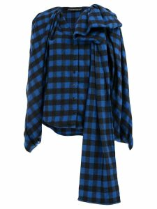 Y/Project checked asymmetric blouse - Blue