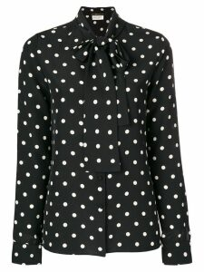 Saint Laurent polka dot pussy bow blouse - Black