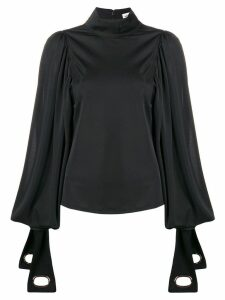 Self-Portrait tie sleeve blouse - Black