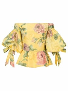 Marchesa floral print off-shoulder blouse - Yellow