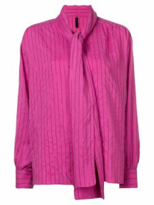 Unravel Project striped pussy bow blouse - Pink